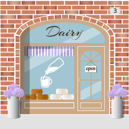 Dairy Products Shop building. Milk products store. Bottle with milk sticker on the window. White and yellow cheese wheels. Purple flowers in retro milk cans at the fore. Red brick facade. Vector illustration EPS 10.