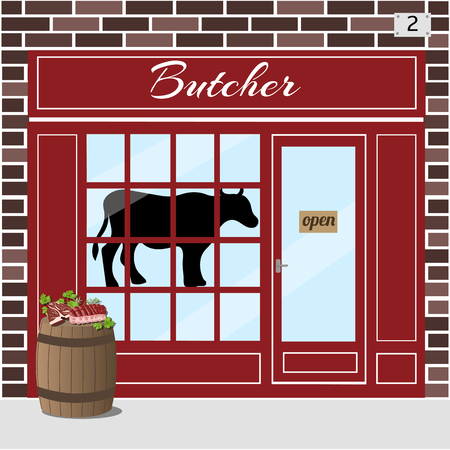 bbq barrel: Butcher shop building. Cow sticker on window. Barrel with fresh slices of meat at the fore. Brown brick facade. Vector illustration EPS10.