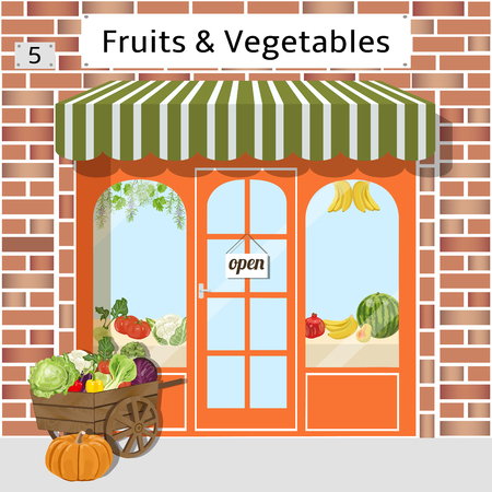 Lokale groenten en fruit op te slaan gebouw. Kar met groenten op de voorgrond. Vector illustratie. EPS-10.