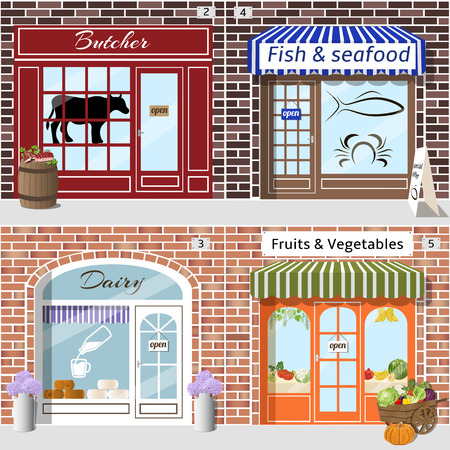 awnings: Set of detailed butcher, fish, dairy, fruits and vegetables shops. Barrel with meat and cart with vegetables at the fore. Building facade of brown and red brick. Vector illustration eps 10.