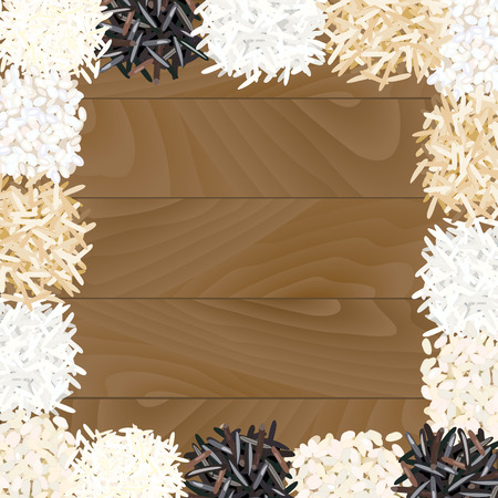 jasmine rice: Different types of rice on wooden background. Basmati, wild, jasmine, long brown, arborio, sushi. Vector illustration EPS 10.