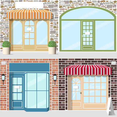 Set of four detailed shop entrance. Facade stone and brick. Striped awnings, flowers in pots, lanterns.