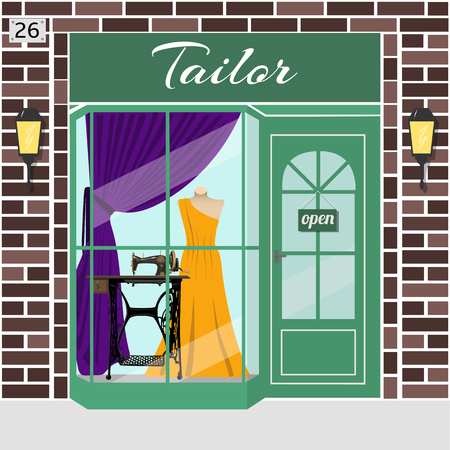 evening dress: Tailor store. Atelier. Facade of brown stone. Dummy in evening dress and treadle sewing machine in window. Vector illustration. EPS 10 Illustration