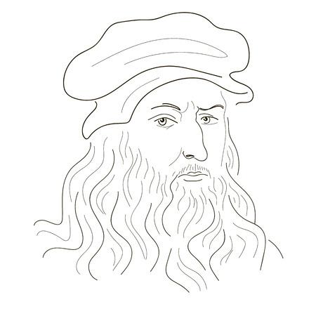 Leonardo Da Vinci. Sketch illustration. Black and white. Vector.