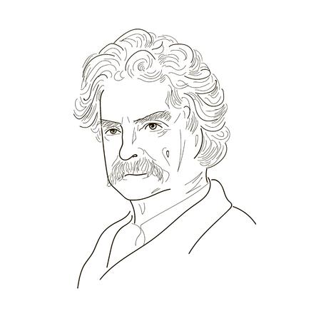 마크 트웨인. 스케치 그림입니다. 검정색과 흰색. 벡터.