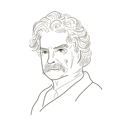 Mark Twain. Sketch illustration. Black and white. Vector. Çizim