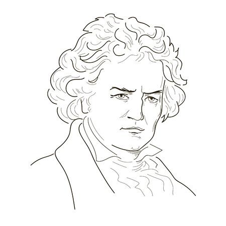 루트비히 판 베토벤. 스케치 그림입니다. 검정색과 흰색. 벡터.