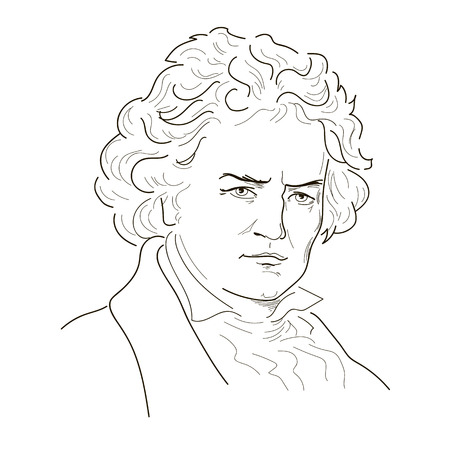 serious: Ludwig van Beethoven. Sketch illustration. Black and white. Vector.