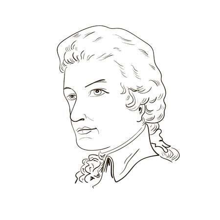 mozart: Wolfgang Amadeus Mozart. Sketch portrait. black and white. Vector illustration.