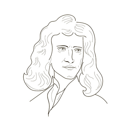 isaac newton: Isaac Newton, an English physicist and mathematician.Sketch illustration. Vector.