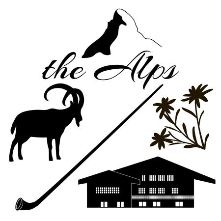 chalet: The Alps flat icons. Mountain Matterhorn, Alpine ibex, chalet, edelweiss flowers, alpenhorn.