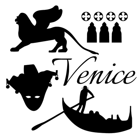 venice gondola: Venice flat icons.  Mask, gondola, lion. Vector. Illustration