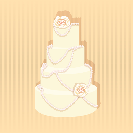 cake stand: Wedding cake. A stylish wedding cake decorated with pearls ans roses.