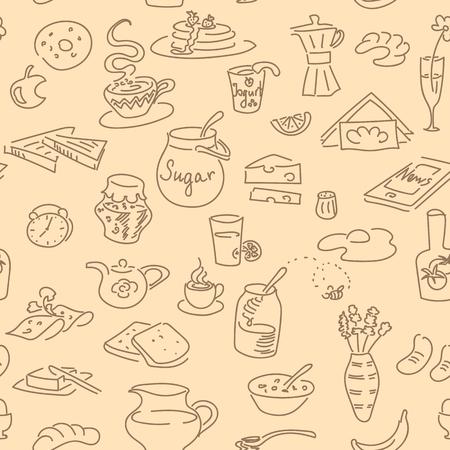 teaspoon: Morning breakfast doodle seamless pattern vector set. Illustration