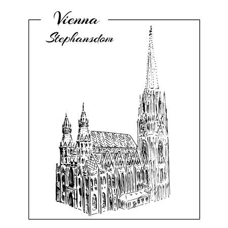 roman catholic: Vienna Stephansdom. Vector hand drawn sketch  illustration.