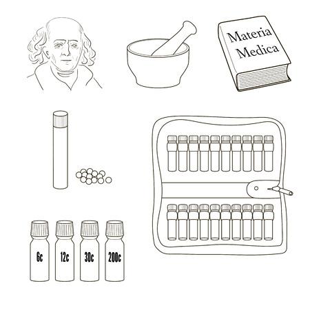 Homéopathie. Ensemble d'icônes vectorielles. pilules homéopathiques, kit de stockage, mortels, pilons, livre Materia Madica, bouteilles.