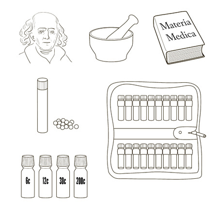 materia: Homeopathy. Set of vector icons. Homeopathic pills, storage kit, mortal, pestle, book Materia Madica, bottles.