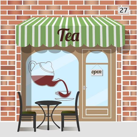 awnings: Tea shop building. Facade of brick. Tea sign sticker on window. Table and chairs at the fore. Illustration