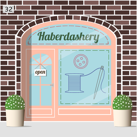 facade: Haberdashery shop facade. Spool with threads, sewing button and needle sticker on window.Brown brick facade. Illustration
