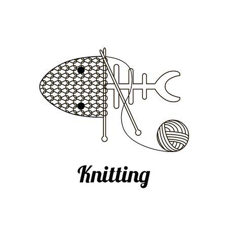 knit: Hand knit. Knitting fish, needles and  ball of yarn. Illustration