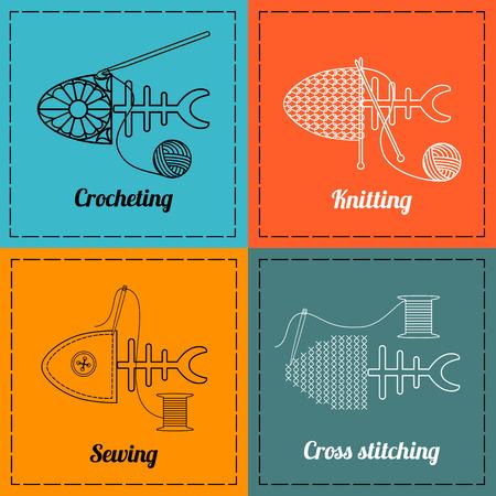 stitching: Knitting, sewing, croching and cross stitching symbols.