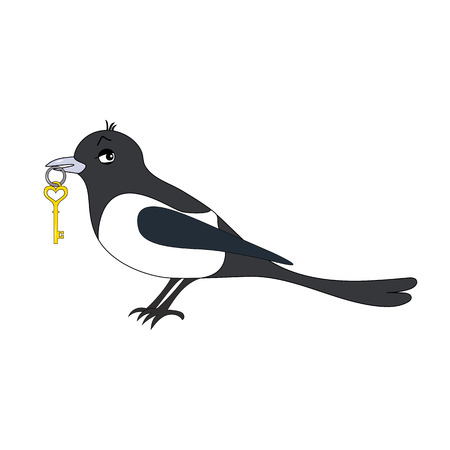 magpie: Cartoon vector Illustration of a magpie with key Illustration