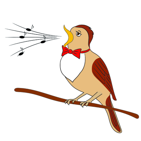 Cartoon Vector Illustration of a Nightingale Belting Out Notes