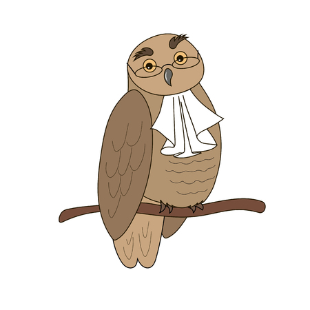 jabot: Cartoon illustration of an owl  in glasses with jabot.