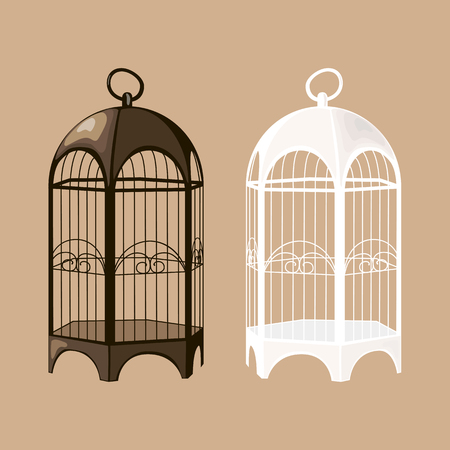caged: Set of black and white birdcages. Illustration