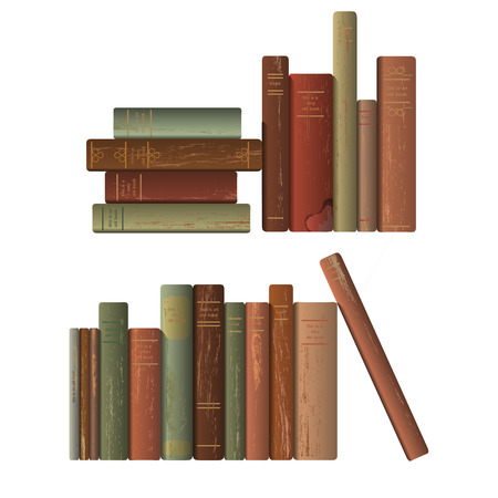 classic authors: Two rows of old books. Vector illustration. Illustration