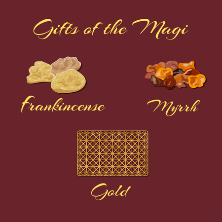 Frankincense: Gold, frankincense and myrrh - Gifts of the Magi. Vector illustration. Illustration