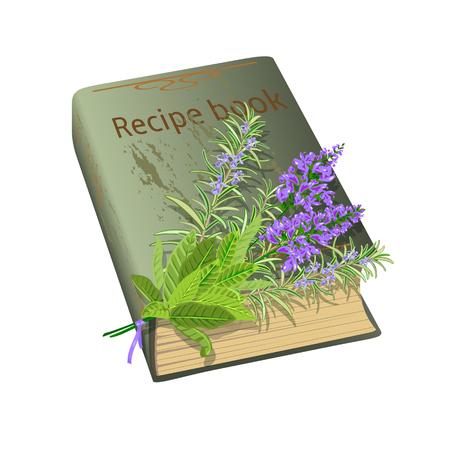 꽃의 무리와 함께 오래 된 조리법 책입니다. 현자와 로즈마리. 벡터 일러스트 레이 션.