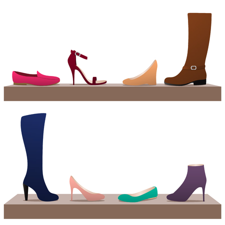 moccasins: Different types of womens shoes on shelves: ballets, moccasins, boots, high heel shoes.