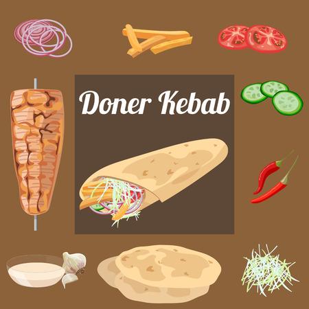 pita bread: Doner kebab. Meat, vegetables, sauce, pita . Vector illustration.