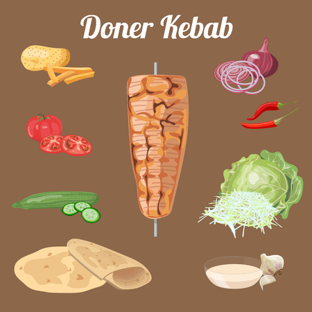 Doner kebab ingredients. Meat, vegetables. Vector illustration. Illustration