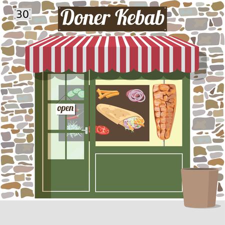 garlic bread: Doner kebab fast food cafe building. Vector illustration.