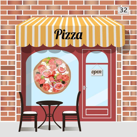awnings: Cafe pizza. Fast food. Table and chairs at the fore, pizza sticker on window. Red brick facade. Vector illustration.