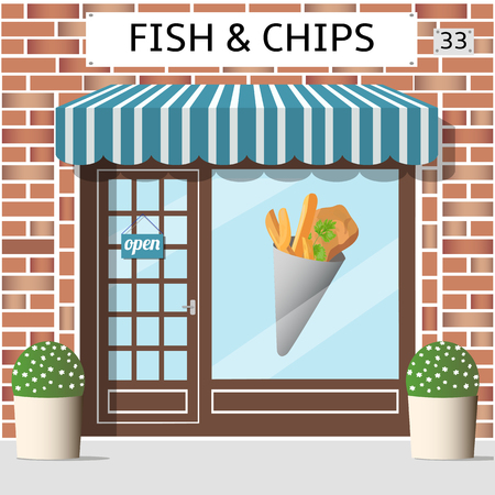 awnings windows: Fish and chips cafe building. Sticker on window. Red brick facade, Vector illustration.