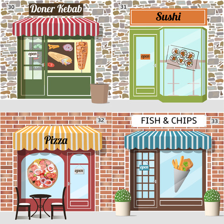 awnings windows: Different fast food cafe. Doner kebab, pizza, sushi, fish and chips. Brick and stone facade. Vector illustration.