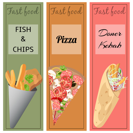 fish and chips: Set of fast food. Doner kebab, pizza, fish and chips