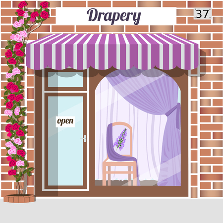 awnings windows: Drapery store. Facade of red brick. Chair with flower pattern and purple curtains in window. Vector illustration. Illustration