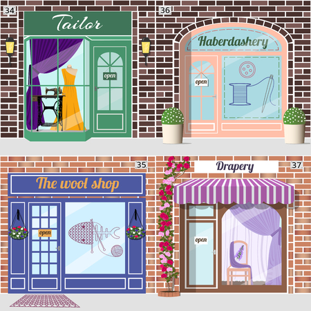 treadle: Set of shops. Tailor with dummy in evening dress and treadle sewing machine in window.Haberdashery with spool with threads, sewing button and needle sticker on window. Wool shop.Drapery shop with chair with flower pattern and purple curtains in window. Ve Illustration