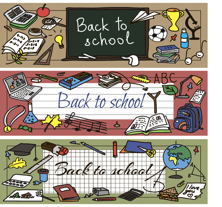 had: Back to school had drawn doodle set of banners. Vector illutration. Illustration