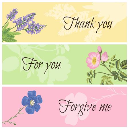 dog rose: Vintage templates set floral horizontal banner. Sage, dog rose and flax. Thank you, for you, forgive me vector botanical illustration.