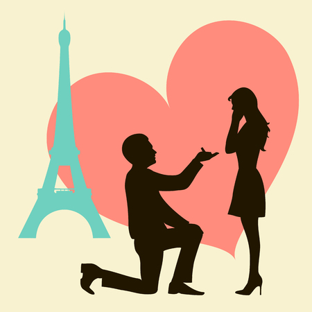 proposed: Love in Paris. Offer of marriage. Silhouettes of man and woman. Vector illustration.