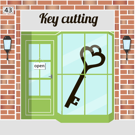 brick building: Key cutting service. Locksmith, keycut. Red brick building facade. Vector illustration