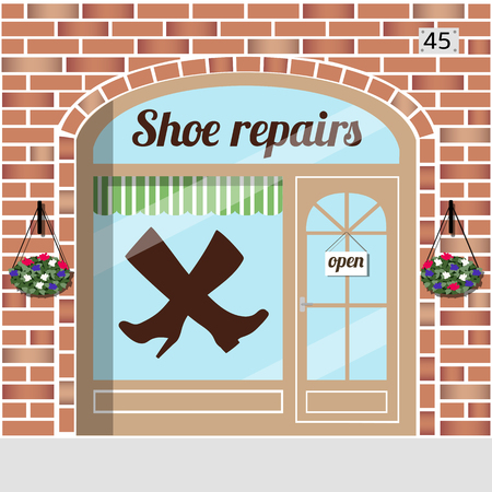eather: Shoe repairs.Red brick building facade. Vector illustration.