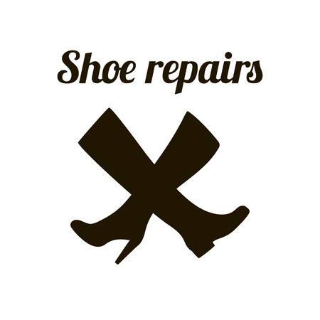 cobbler: Shoe repairs sign. Shoemaker concept symbol. Vector illustration