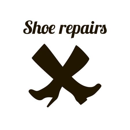 repairs: Shoe repairs sign. Shoemaker concept symbol. Vector illustration