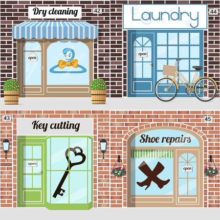 cobbler: Set of various servicies. Key cutting, Shoe repairs, dry cleaning, Laundry. Vector illustration